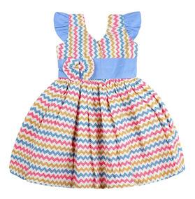 Kit 5 Vestido Infantil Festa Casual Menina Popeline Atacada