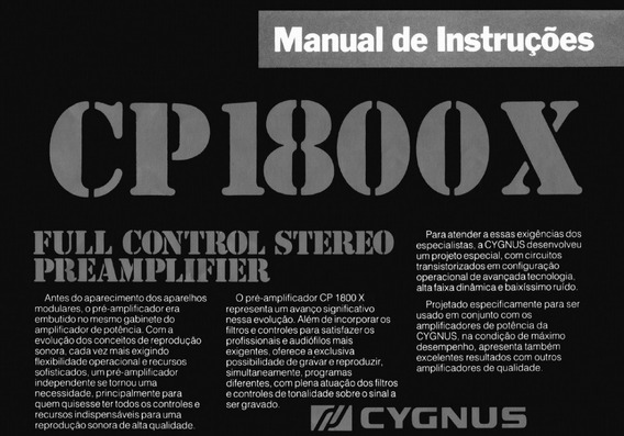 Cygnus Cp1800x Manual De Instruções