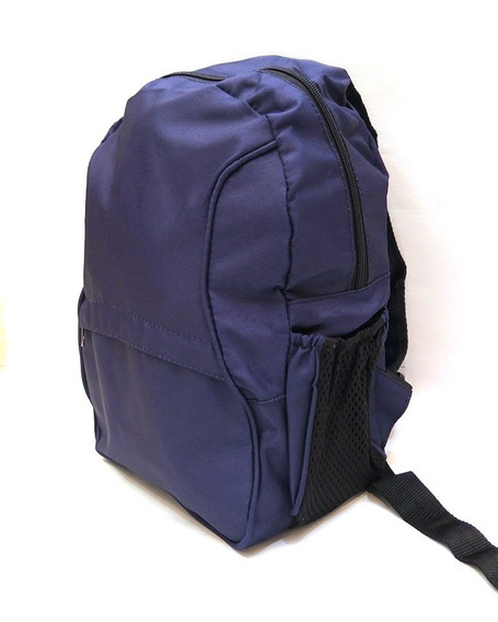 Mochila Azul Marino Liso Colegial De Espalda - 38 Cm.