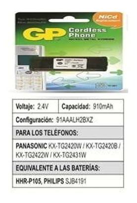 Batería Teléfonos Inalámbricos Gp Compatible Modelo Hhr-p105