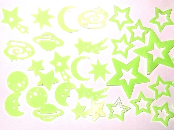Planetas Y Estrellas Fluorescentes X 24 Piezas