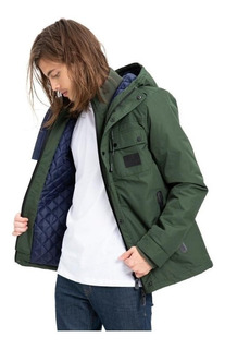 Campera Impermeable Hombre Rusty Strangers Verde Militar