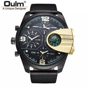 Relógio Masculino Oulm Original Luxo Preto 3 Horario Barato