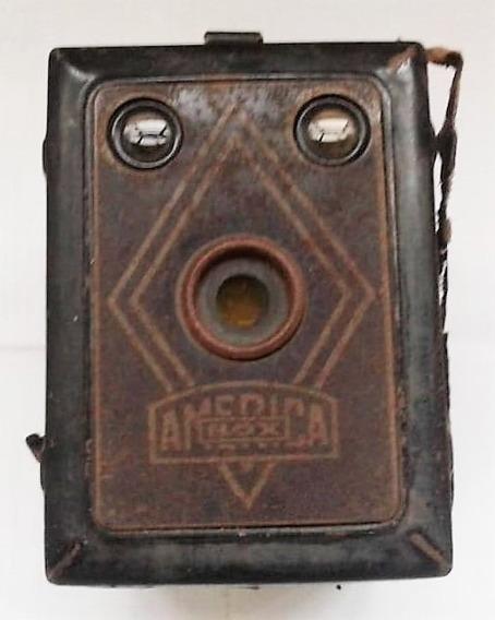 Camera Maquina Fotográfica Antiga América Box Preta