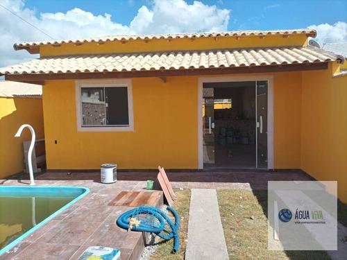 Casa 02 Quartos , Piscina E Churrasqueira - R$ 150 Mil - Boug 2 - Unamar - Ca0161
