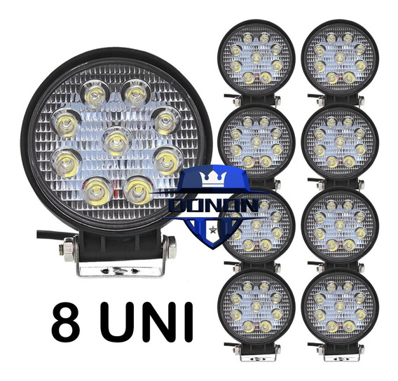 8x Farol Milha Led Redondo 9 Leds 27w 12v 24v Jeep Off-road