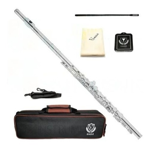 Flauta Transversal Eagle Em Dó Prateada Fl03s + Case Luxo