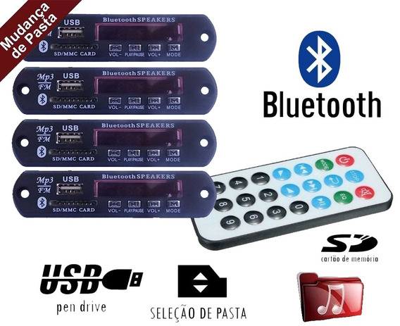 Kit 4 Placa P/ Amplificador - Modulo Usb Mp3 Bluetooth Pasta