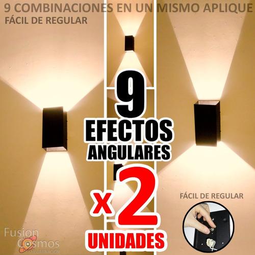 Aplique Pared Interior 9 Efectos C/ Lampara Led 6w Pack X2un