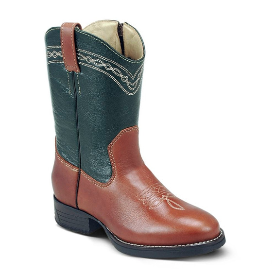 Bota Country Texana Infant Couro Latego Mustang Pinhao Verde