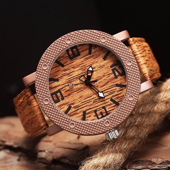 Relógio Feifan - Quartzo - Fundo E Pulseira Cor De Madeira