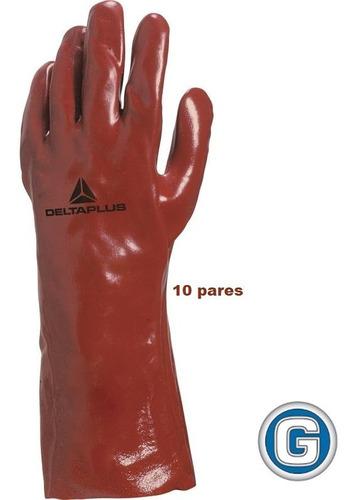 10 Par Guante Pvc Soporte Jersey Algodón Deltaplus 35cm Rojo