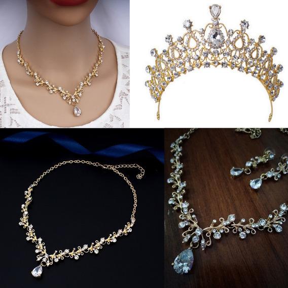 Coroa Tiara + Colar + Brincos Noiva Debutante Casamento Dourada