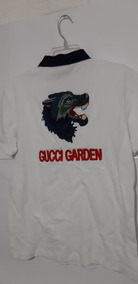 Playera Polo Gucci Lobo Bordado Blanco