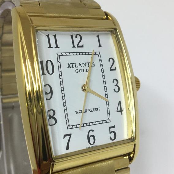 Relógio Unissex Quadrado Atlantis Original Dourado Promoção