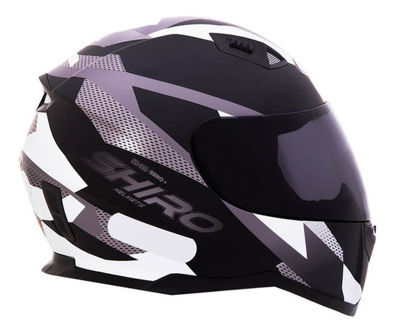 Capacete Shiro Sh881 Brno Preto Fosco/branco Rs1