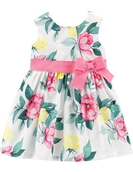 Vestido Carters Com Calcinha Festa Floral Laço Rosa Menina