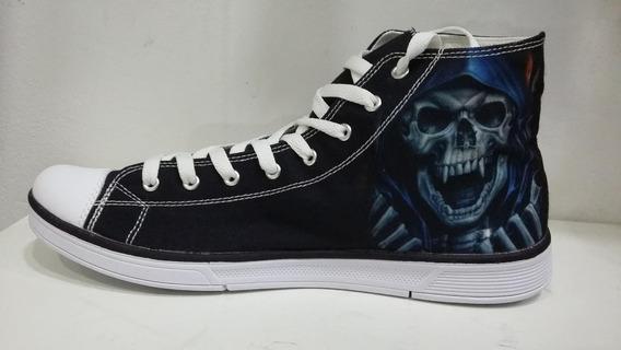 Tênis Rock Caveira - Skull All Star Style - Ropapreta