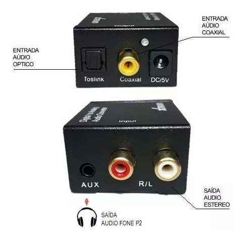 Conversor De Audio Digital Optico Toslink Para Rca E P2 Fone