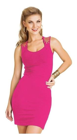 Vestido De Alças Pink Em Cotton