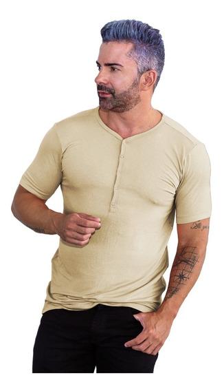 Camisa Henley Slim Botão De Pressão Masculina Várias Cores