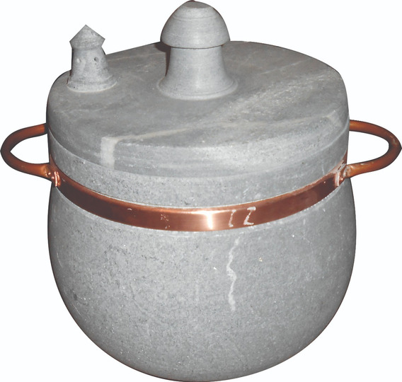 Panela De Pressão Em Pedra Sabão E Alça De Cobre 3,5 Litros