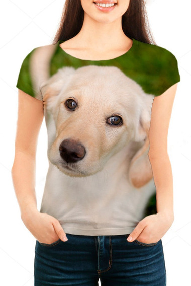 Camiseta Babylook Feminina Filhote Cão Labrador Face - Mn01