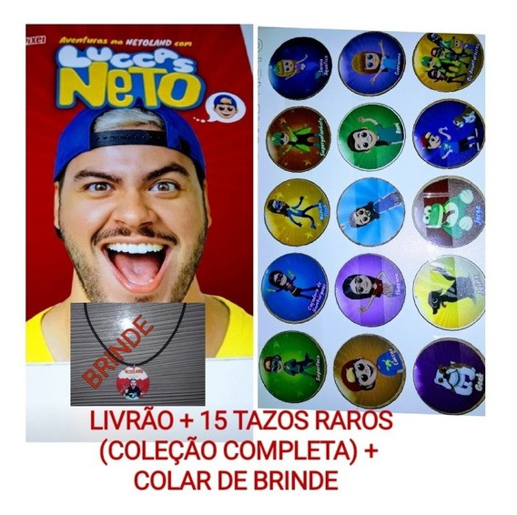 Livro Do Luccas Neto + 15 Tazos Coleção Completa + Brinde!!!