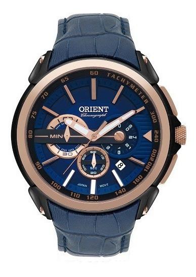 Relógio Orient Crono Visor Azul Pulseira De Couro Mtscc029