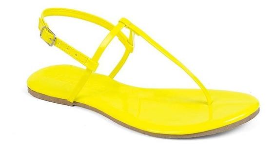Sandália Flat Feminina Neon Mercedita Shoes Verniz