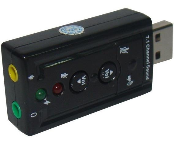 Placa De Som Usb 7.1 Canais Adaptador Audio Fone De Ouvido