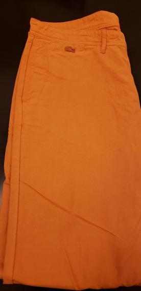 Pantalon Lacoste Gabardina Naranja