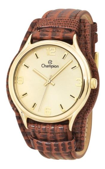 Relógio Champion Feminino Ouro Pulseira Couro Colar Brinco