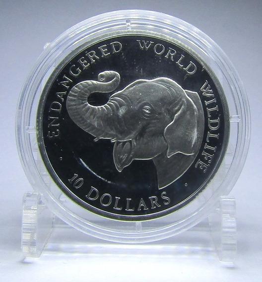 Islas Cook Moneda 10 Dolares Año 1990 Plata Elefante Animal