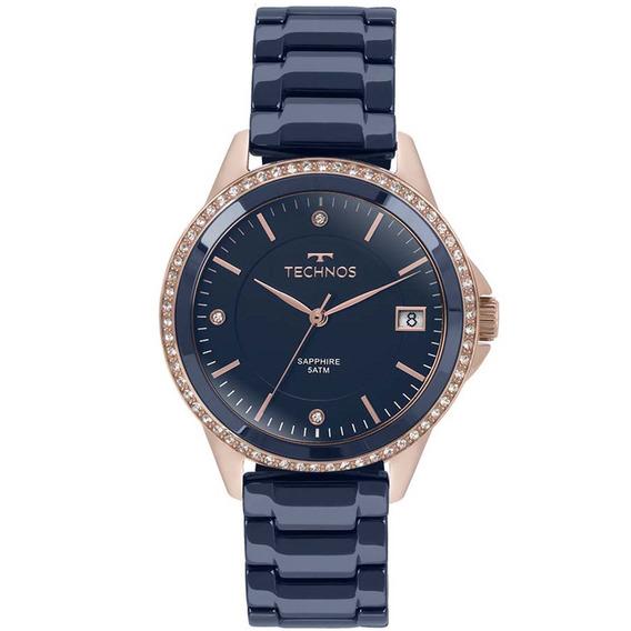 Relógio Technos Cerâmica Azul Com Rosê 2315kzt/4a