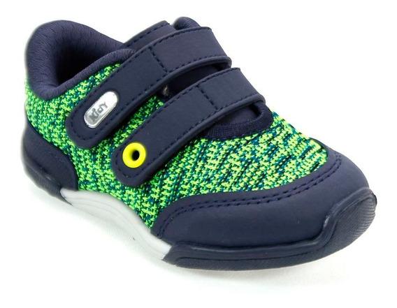 Tênis Menino Colors Neon Azul Marinho/ Verde Kidy 008-0414-6