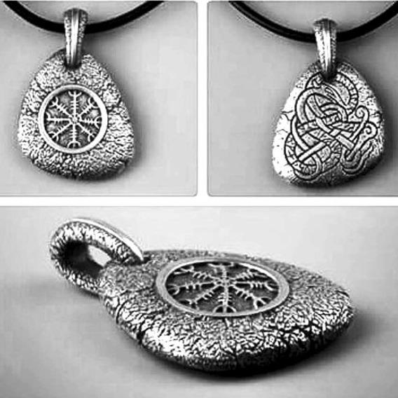 Colar Cordão Viking Vegvisir Runas Tribal Amuleto Nórdico