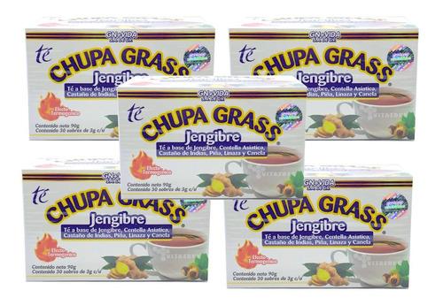 Imagen 1 de 4 de Té Chupa Grass Jengibre 30 Sobres Castaño De Indias (5 Cajas