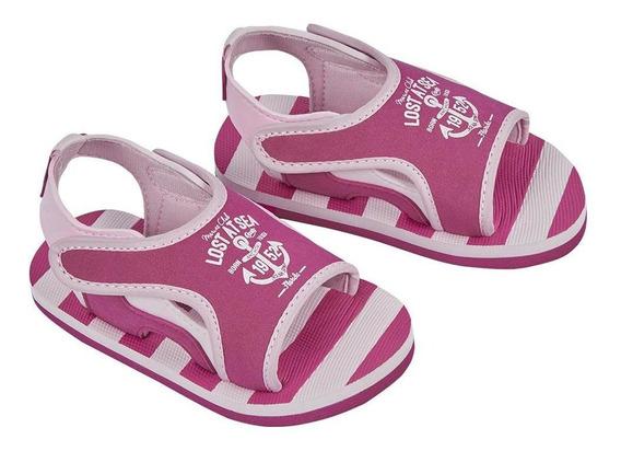 Zapato Sandalia Niña Color Rosa Estampado Ancla Con Velcro C
