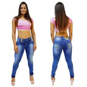 Calça Jeans Feminina Via7 Levanta Bumbum Strass Metal 10104