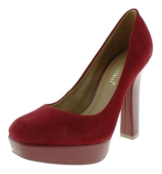 Sapato Feminino Di Cristalli Vermelho Meia Pata Salto 12cm