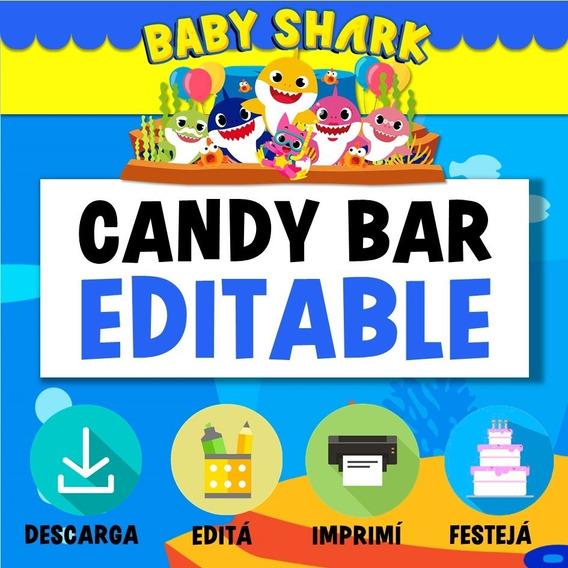 Kit Imprimible Baby Shark Candy Bar Editable Nene Varon