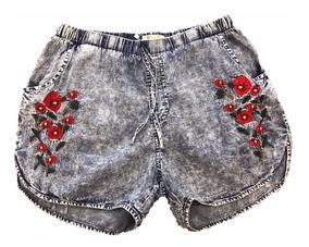 Shorts Jeans Feminino Bordado Flores Com Elástico No Cintura