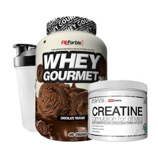 Whey Gourmet (907g) + Creatina 100g Pro Corps + Brinde