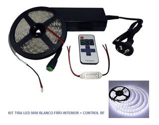 Kit Tira Luces Led Efectos Blanco Frío + Control Rf +fuente