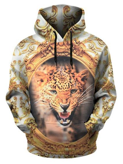 Espejo Leopardo Impresión Jersey Capucha
