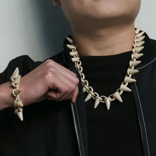Corrente De Prata Lil Uzi Vert Estilo Spiked Com Diamantes Vvs De Laboratorio