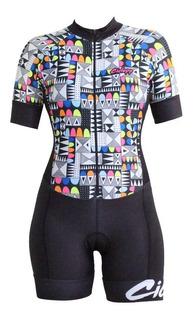 Macaquinho Ciclismo Feminino Ciclopp Confeti Preto Pp