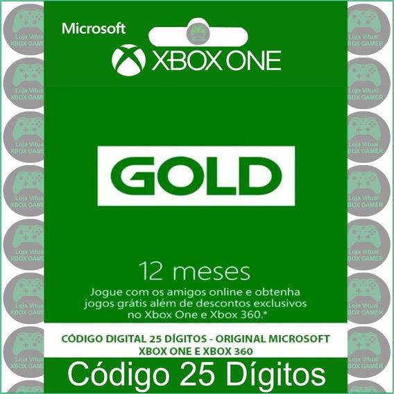 Xbox Live Gold 12 Meses Xbox 360/one Código 25 Dígitos