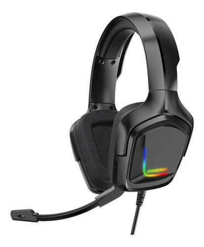 Fone de ouvido gamer Onikuma K20 preto com luz  rgb LED